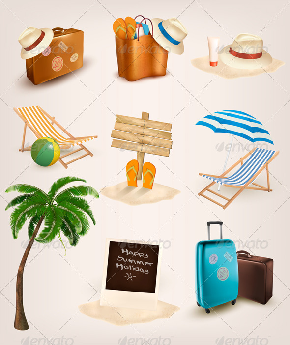 GraphicRiver Set of Vacation Related Icons 7647940