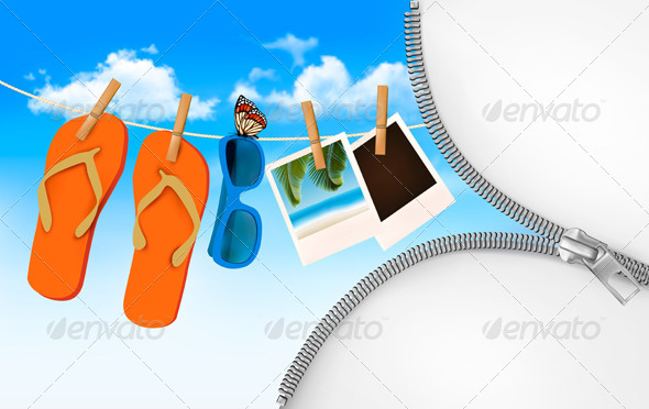 GraphicRiver Summer Memories Background with a Zipper 7647948