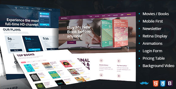 Skyfall Tv-Entertainment Book Store Landing Page - Entertainment Landing Pages