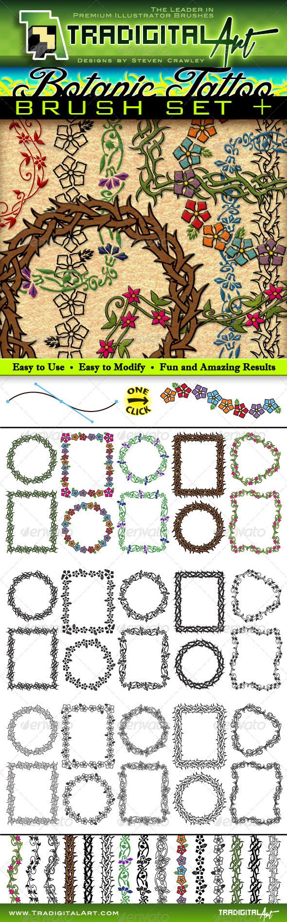 GraphicRiver Botanic Tattoo Brush Set & 7647977