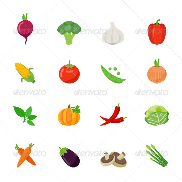GraphicRiver Vegetable Icons Flat Full Color Design 7648079