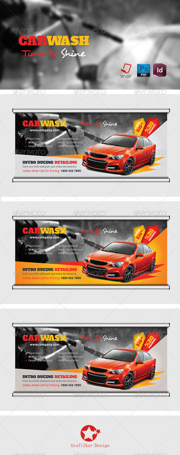 GraphicRiver Car Wash Billboard Templates 7648530
