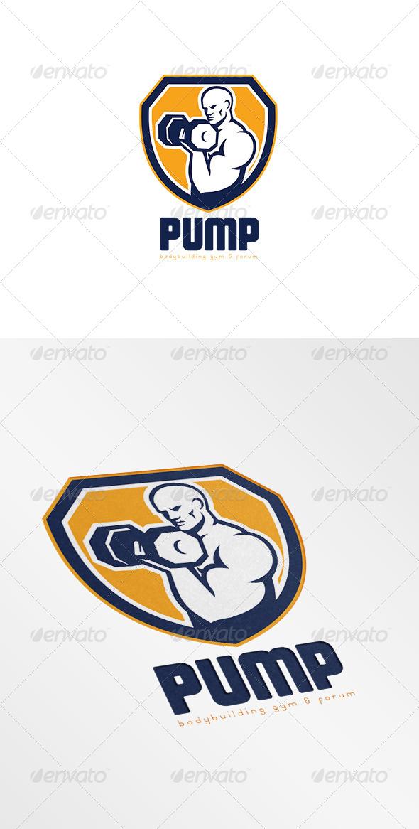 GraphicRiver Pump Bodybuilding Gym Logo 7648745