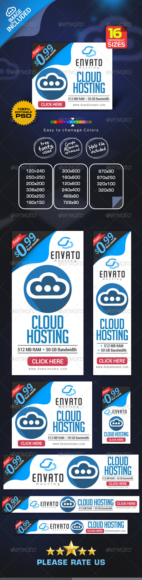 GraphicRiver Cloud Hosting Banners 7648776