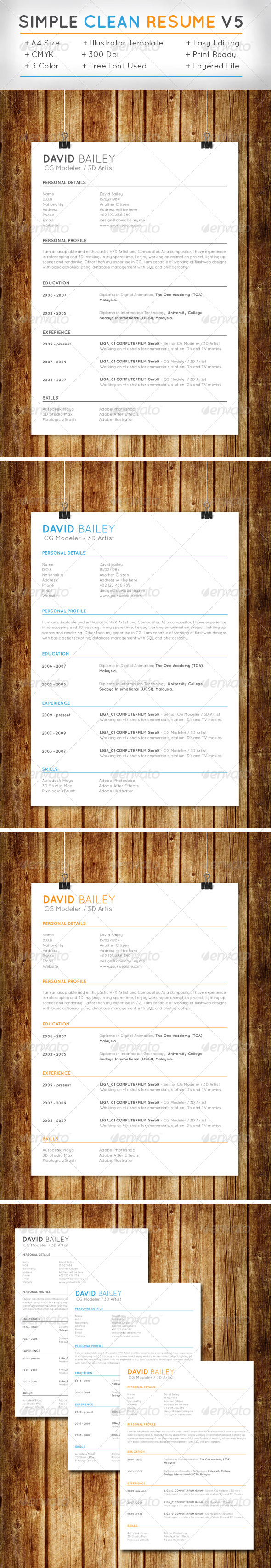 GraphicRiver Simple Clean Resume v5 7648947