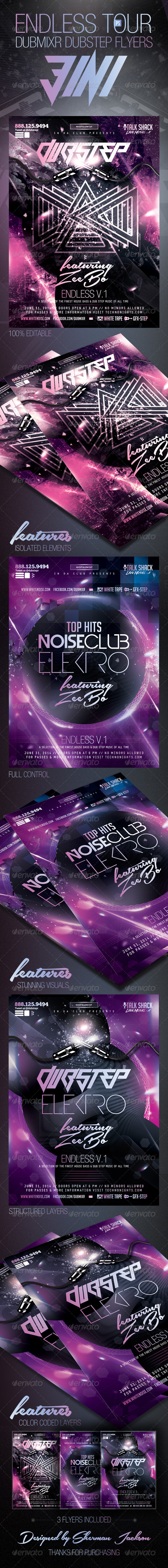 GraphicRiver Endless Tour Dubstep DubMixr Flyers 3 in 1 7649114