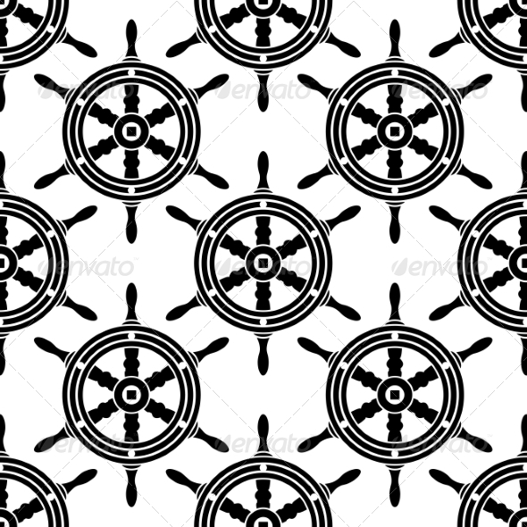 GraphicRiver Seamless Pattern of Antique Ship Wheels 7649125