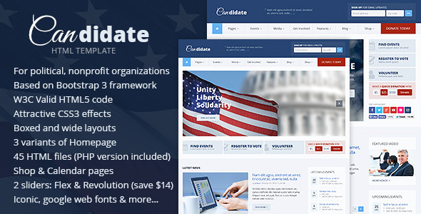 ThemeForest Candidate Political Nonprofit HTML Theme 7622367