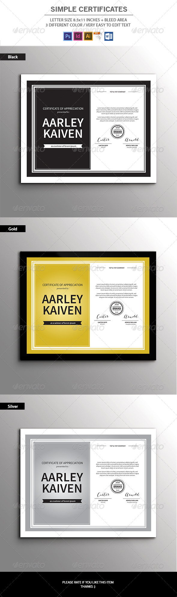 GraphicRiver Simple Certificates 7649708