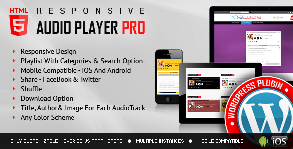 CodeCanyon Responsive HTML5 Audio Player PRO WordPress Plugin 7649878