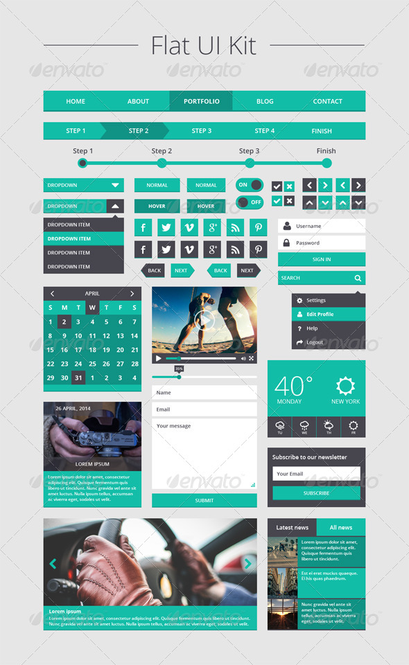 GraphicRiver Flat UI Kit 7640285