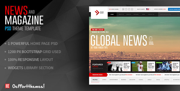"Prime News-Online News and Magazine Template Presenting the most exclusive and powerful photoshop template, ""Prime News-Online News and Magazine"" i"