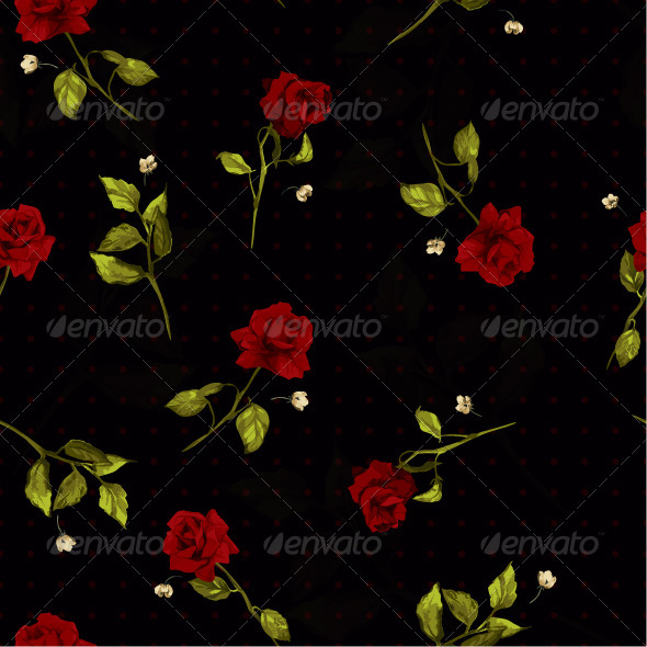 GraphicRiver Seamless Floral Pattern with Red Roses 7650207