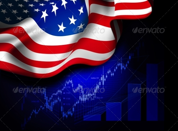 GraphicRiver Market Financial Data with Flag of USA 7650246