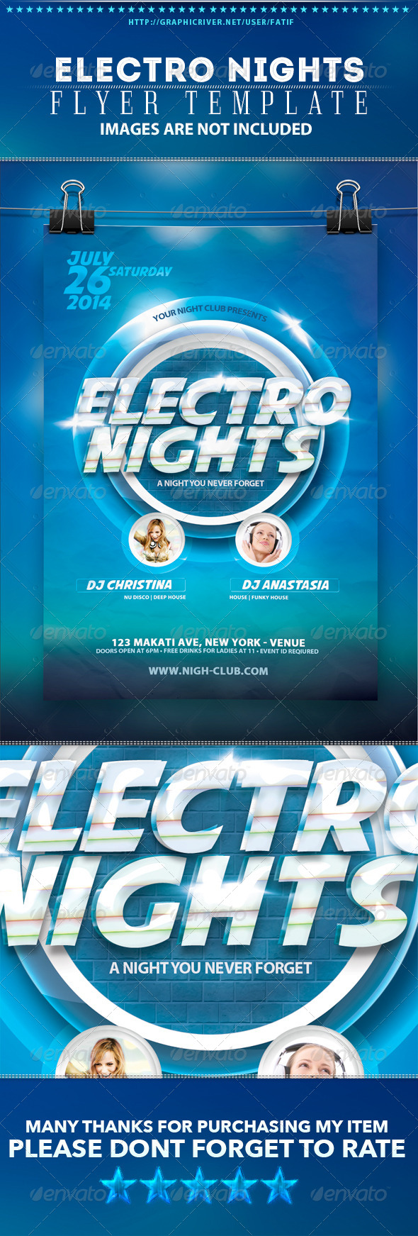 Electro Nights Flyer Template - Clubs & Parties Events