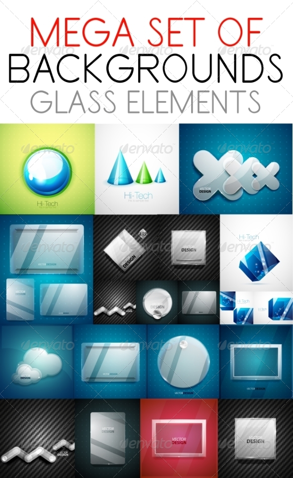 GraphicRiver Collection of Glass Elements 7650337