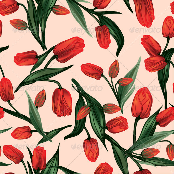 GraphicRiver Seamless Floral Pattern with Red Tulips 7650506
