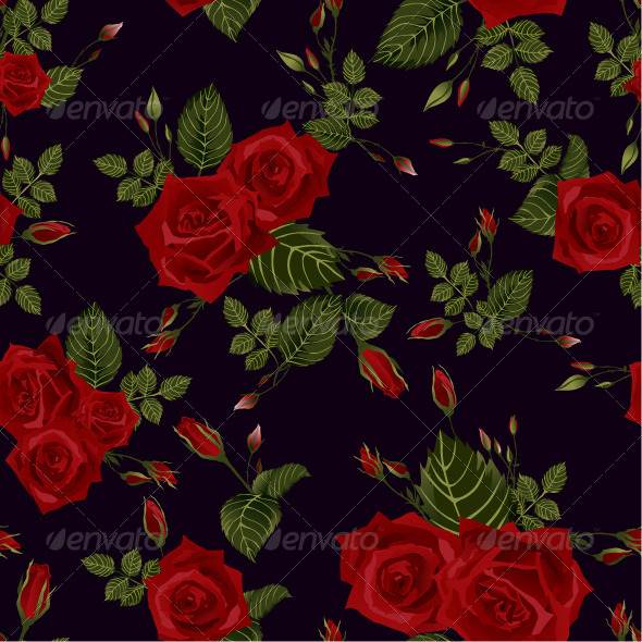 GraphicRiver Seamless Floral Pattern with Red Roses 7650512