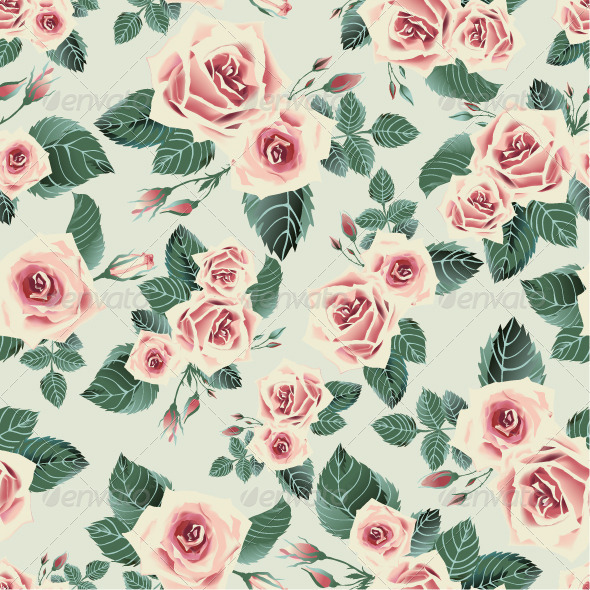GraphicRiver Seamless Floral Pattern with Pink Roses 7650532