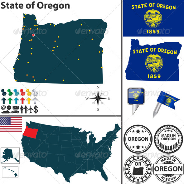 Map of State Oregon USA