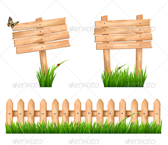 GraphicRiver Two Wooden Signs and a Fence with Grass 7647967