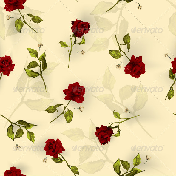 GraphicRiver Seamless Floral Pattern with Red Roses 7651982