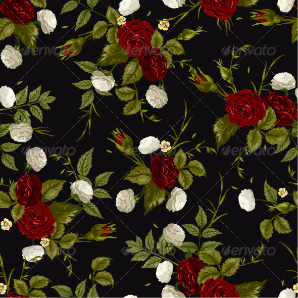 GraphicRiver Seamless Floral Pattern with Red and White Roses 7652014