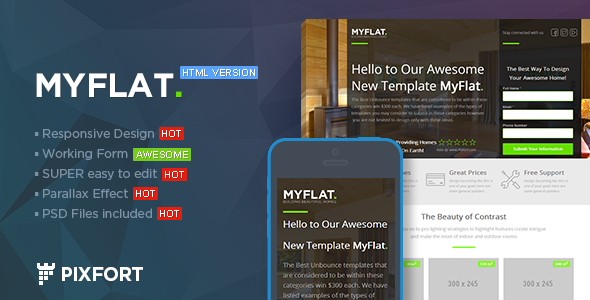 ThemeForest MYFLAT Real Estate HTML Landing Page 7618173