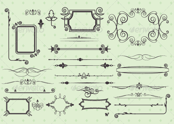 GraphicRiver Set of Vintage Calligraphic Elements 7652033