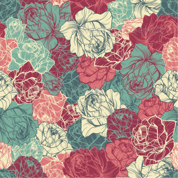 GraphicRiver Seamless Floral Pattern with Outlined Roses 7652064