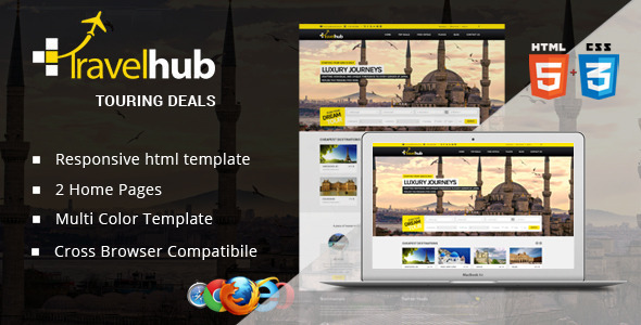 ThemeForest Travel Hub Touring Packages HTML Template 7652103