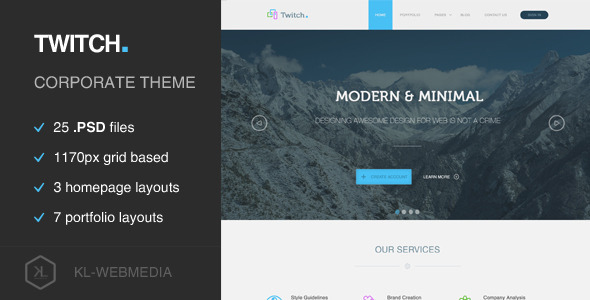 ThemeForest Twitch Corporate PSD Template 7652198