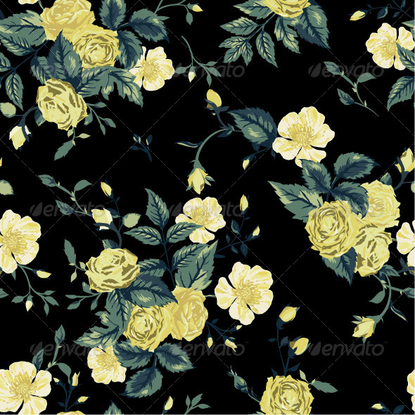 GraphicRiver Seamless Floral Pattern with Roses 7652215