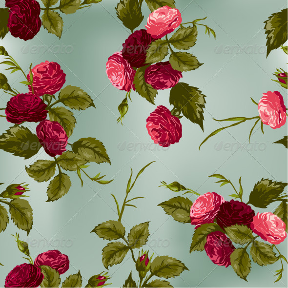 GraphicRiver Seamless Floral Pattern with Red and Pink Roses 7652272