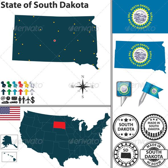 GraphicRiver Map of State South Dakota USA 7652529