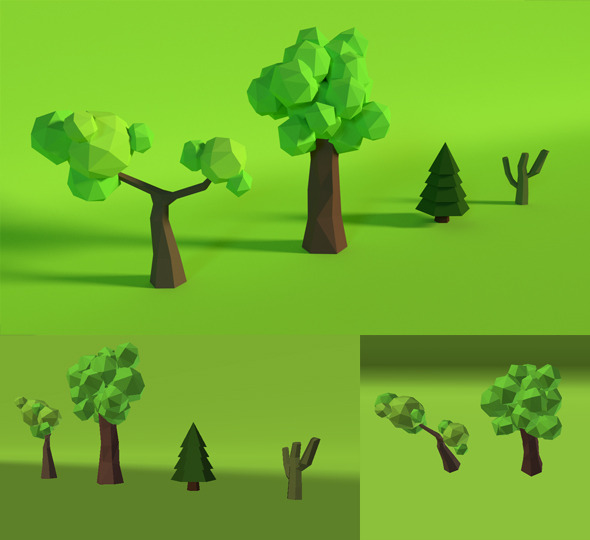 LowPoly Trees .Pack4 - 3DOcean Item for Sale