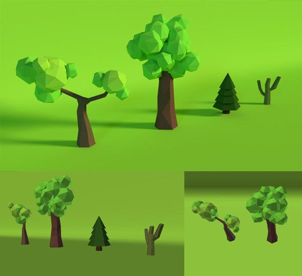 3DOcean LowPoly Trees Pack4 7652538