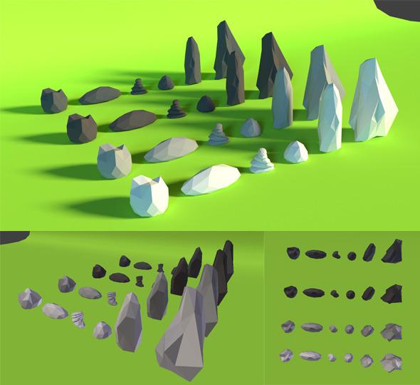 3DOcean LowPoly Rocks Pack4 7652550