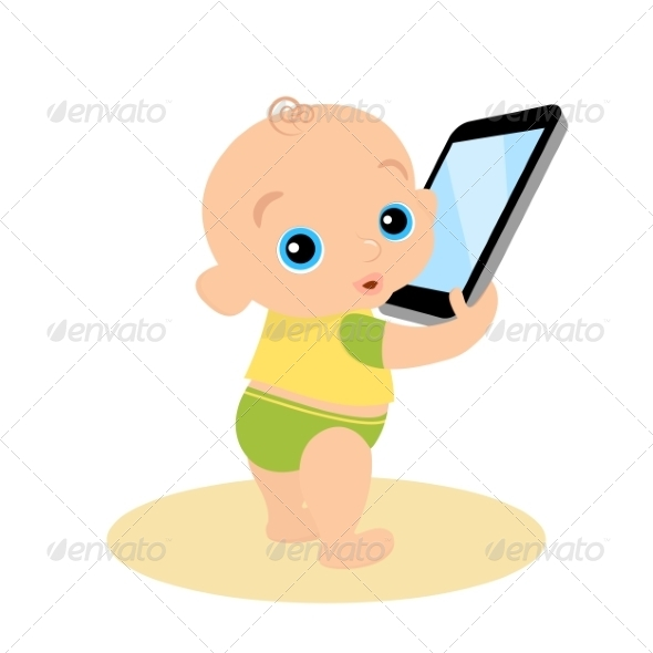 GraphicRiver Little Boy is Playing with Smartphone 7652702