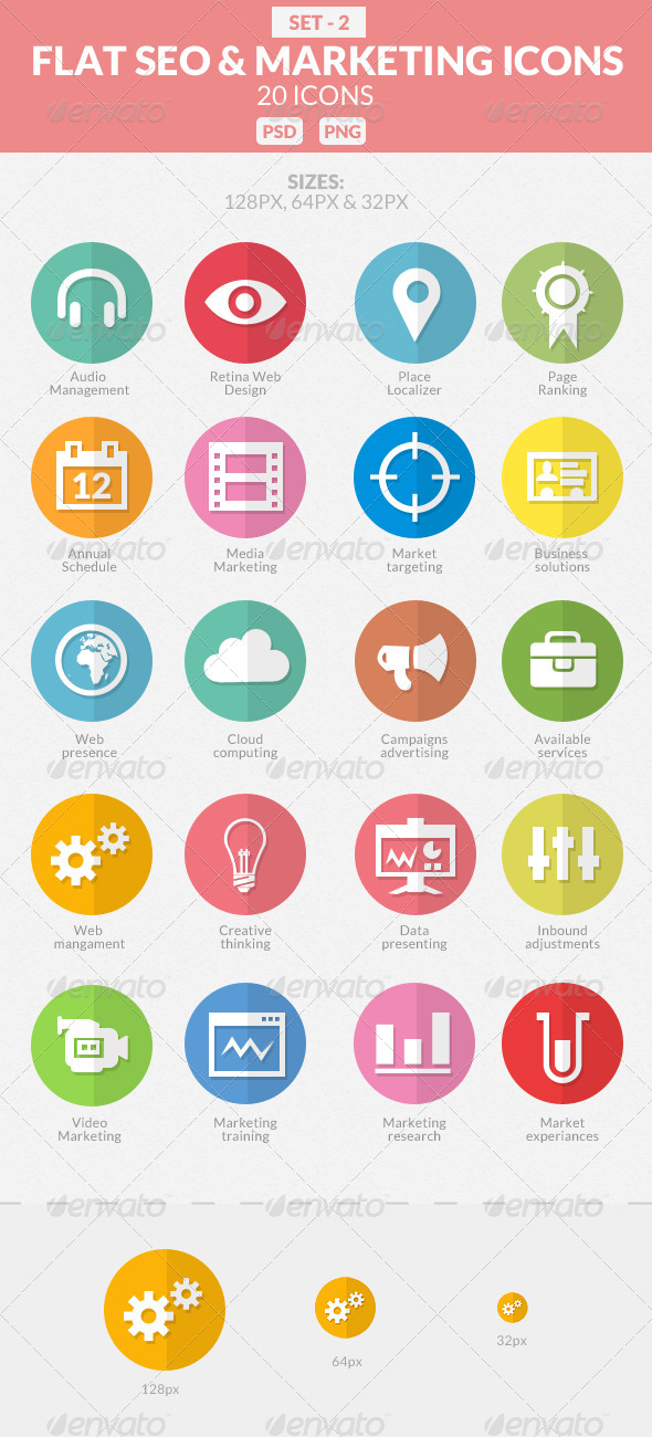 GraphicRiver Flat SEO & Marketing Icons Pack 2 7653517