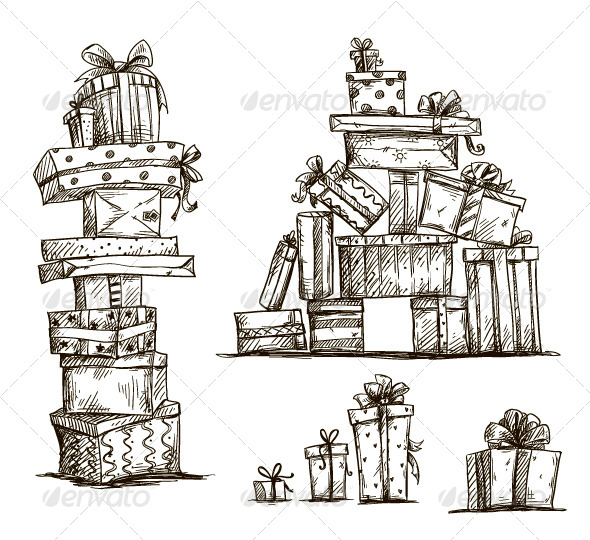 GraphicRiver Piles of Presents Doodle 7653888
