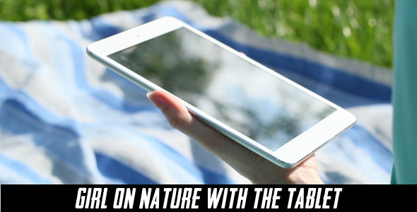 Girl On Nature With The Tablet 8