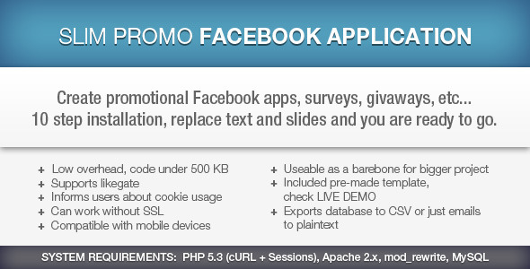 Slim Promo Facebook Application - CodeCanyon Item for Sale