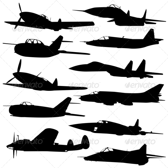 GraphicRiver Collection of Different Combat Aircraft Silhouette 7655121