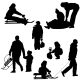Silhouettes Set People and Sled