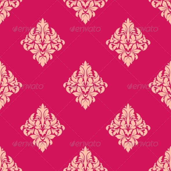 GraphicRiver Pink and Beige Floral Seamless Pattern 7655129