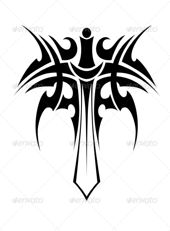 GraphicRiver Tribal Tattoo with Sword 7655159