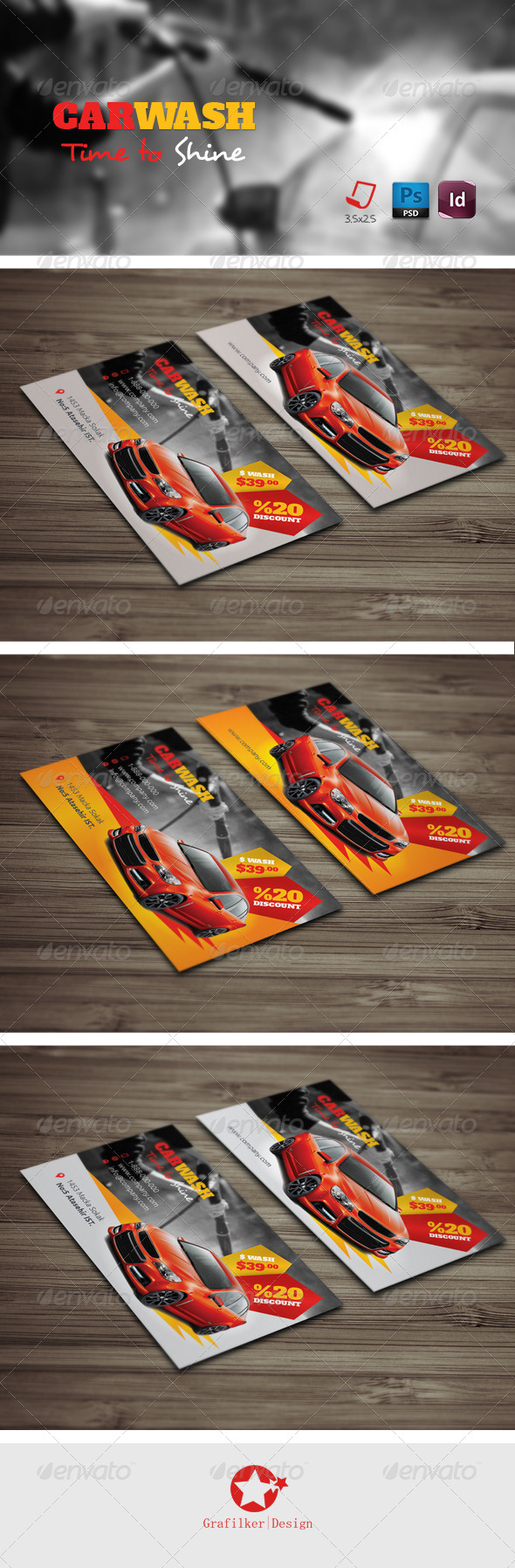 GraphicRiver Car Wash Business Card Templates 7655462