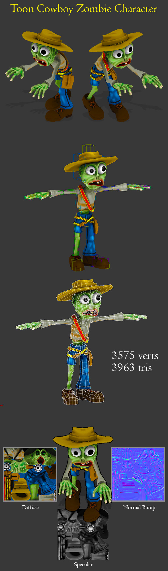 3DOcean Toon Cowboy Zombie Character 7655662
