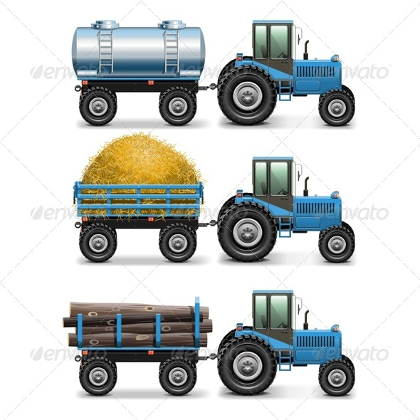 GraphicRiver Vector Agricultural Tractor Set 4 7655935